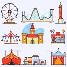 Buy Amusement Park Vector Flat Elements Isolated by on GraphicRiver. Amusement ride or luna park roller coasters entertainment vector set.Linear style illustrations isolated on white. Carnival Rides, Carnival Themes, Roller Coaster Drawing, Roller Coasters, Ride Drawing, Fair Rides, Episode Interactive Backgrounds, Doodles, Amusement Park Rides