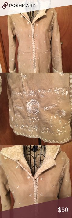 Girls gap leather coat with hood Beautiful tan coat with gorgeous embroidered design long and warm😄❤ GAP Jackets & Coats