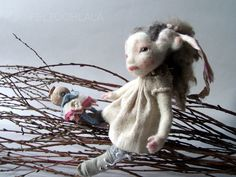 Thistle , felted art doll by FELTOOHLALA.