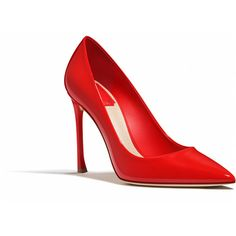RED PATENT CALFSKIN LEATHER PUMP, 10 CM ❤ liked on Polyvore featuring shoes, pumps, heels, calf leather shoes, red heel shoes, patent pumps, patent shoes and calfskin shoes