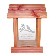 Personalized Memorial Bird Feeder - Hanging Cedar Wood Bird Feeder with Custom Engraved In Loving Memory Inscription & Choice of Theme Sympathy Gift Made in USA (Bird on Branch) -- Click image for more details. (This is an affiliate link) Wood Bird Feeder, Bird Feeders, All Gifts, Home Gifts, Unique Sympathy Gifts, Personalized Memorial Gifts, Funeral Gifts, Bereavement Gift, Funeral Memorial