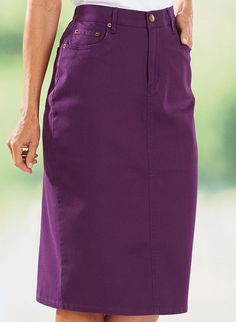 """The iconic 5-pocket denim skirt gets a modern makeover with colorful stretch denim. It has elastic insets on the waist for a custom fit. Button/zip front closure. Cotton/spandex. Dark Denin: cotton/polyester/spandex. Machine wash. Imported. Petite - 24""""; Misses - 25""""; Women's - 27""""."""