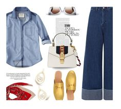 """""""Denim..."""" by unamiradaatuarmario ❤ liked on Polyvore featuring Sea, New York, Ippolita, Abercrombie & Fitch, Gucci, Thierry Lasry and alldenim"""