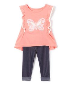 Look at this #zulilyfind! Coral Butterfly Knit Tunic & Blue Leggings- Infant, Toddler & Girls #zulilyfinds