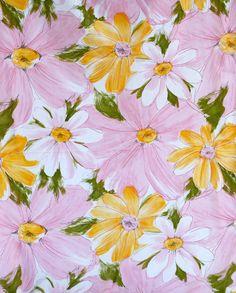 Cute Mod Daisies Vintage Fabric Sheet