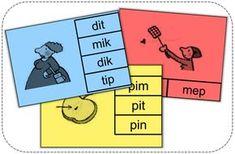 Deze knijpkaarten tonen telkens een prent en enkele woorden. De leerling knijpt de wasknijper op het juiste woord. Dutch Language, Letter G, Phonics, Kids Learning, Spelling, Classroom, Teaching, Education, Circuit