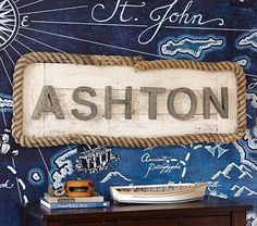 Something like this.... long frame with texture or color. Galvanized Wall Letters | Pottery Barn Kids