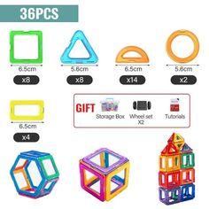 Magnetic Building Blocks - 36 PCS