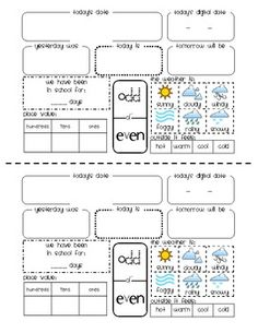 Worksheet for students to complete daily during calendar time. ...
