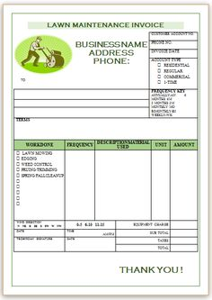 Landscaping Invoice Template 1