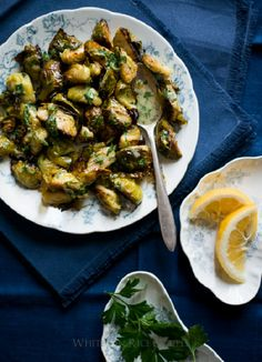Roasted Brussels Sprouts with Lemon Mustard Parsley Dressing
