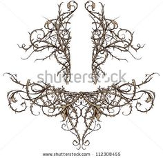 Thicket Design Accents Vector set of two highly detailed thorny thicket design elements. These scroll ornaments are perfect for accents in backgrounds, crests, banners, etc.
