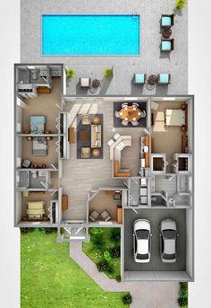 Modern House Plans: 59 Inspiring Models For Conf … – Plantas de Casas Modernas: … House Layout Plans, Dream House Plans, House Layouts, Sims 4 Houses Layout, Sims House Design, Bungalow House Design, Small House Design, Modern House Design