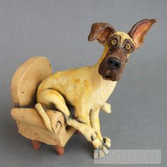 Great Dane in Chair Whimsical Ceramic Dog Sculpture Pottery Animals, Ceramic Animals, Clay Animals, Ceramic Art, Dog Sculpture, Animal Sculptures, Ceramic Sculptures, Le Chihuahua, Big Dog Breeds