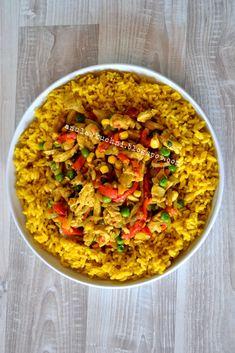 Anula w kuchni: Ryż curry z kurczakiem i warzywami Paella, Risotto, Ale, Healthy Recipes, Healthy Food, Food Porn, Food And Drink, Chicken, Dinner