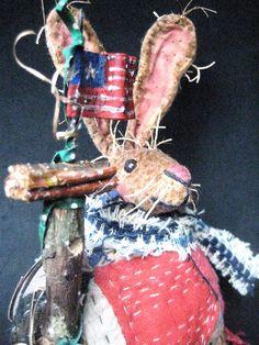 OOAK Primitive Folk Art Storybook Rabbit by FolkArtWorks on Etsy