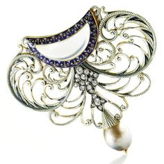 Diamond, enamel, moonstone and pearl brooch/hair ornament combination, Carlo and Arthur Giuliano, Circa 1895