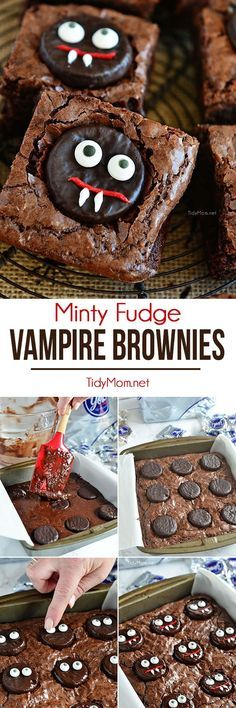 Vampire Brownies are an easy fun minty fudge brownie treat perfect for Halloween.  Get the recipe at http://TidyMom.net