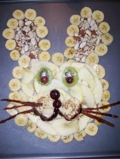 bunny made with fruit for fruit tray