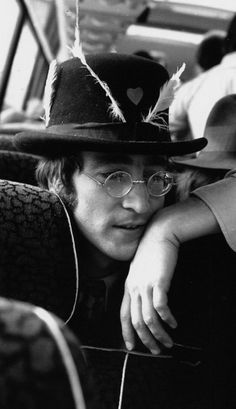 John Lennon on the Magical Mystery Tour bus, September 1967.