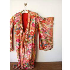 Vintage Silk Kimono - Colorful Floral Pattern - Dressing Gown