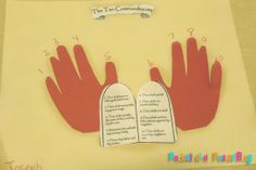 10 commandments: but use paint hand prints and toddler worded commandments