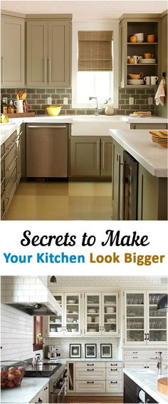 Make your kitchen look bigger!!! 1) Be clutter free 2) allow natural light in and open the kitchen up. The brighter the more open looking 3) Color, choose light-colored or low-contrast walls, cabinetry and appliances 4) Glass cabinets makes it look bigger 5) Tall, thin furniture
