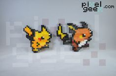 Perler bead sprites by Pixel Geex of Pokemon evolution: Pikachu and Raichu http://www.pixelgeex.com/pokemon/
