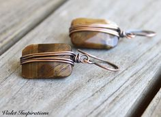 Tiger Eye Earrings / Copper Earrings / Wire Wrapped Earrings / Wire Wrapped Jewelry / Copper Jewelry / Copper Wire Earrings by VioletInspirations on Etsy https://www.etsy.com/listing/516119022/tiger-eye-earrings-copper-earrings-wire
