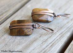 Tiger Eye Earrings / Copper Earrings / Wire Wrapped Earrings / Wire Wrapped Jewelry / Copper Jewelry / Copper Wire Earrings by VioletInspirations on Etsy https://www.etsy.com/listing/516119022/tiger-eye-earrings-copper-earrings-wire