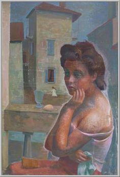 Mario Tozzi 1951: Perplessità. Olio su Tela cm.130x90 - Collezione Privata Milano - Archivio n.176 - Catalogo Generale n.51/2.