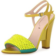 Fendi Fantasia Beaded Leather Evening Sandal ($950) ❤ liked on Polyvore featuring shoes, sandals, fluorescent yello, ankle strap sandals, high heel shoes, high heel sandals, neon yellow sandals and leather sandals