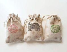 Christmas muslin cotton drawstring bags Christmas pouches