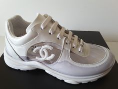 d77fd9ae8eb0 NIB Runway Chanel runners trainers leather White transparent Sneakers 35