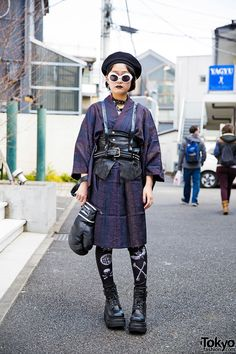 "tokyo-fashion: "" Moeka on the street in Harajuku wearing a leather harness over a vintage kimono, Glad News boxing glove bag, and Demonia boots from Never Mind the XU. Full Look "" Asian Street Style, Tokyo Street Style, Japanese Street Fashion, Tokyo Fashion, Harajuku Fashion, Korean Fashion, Estilo Harajuku, Harajuku Girls, Harajuku Japan"