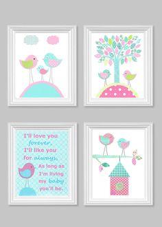 I'll Love You Forever Aqua and Pink Bird by SweetPeaNurseryArt