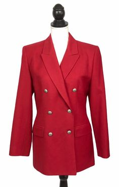 ff1f693d5815c Talbots Red Wool Blazer Jacket Sz 4 Womens Silver Black Decorative Buttons  Lined  Talbots