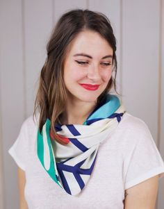Scarf Shandor, textile design, Twin Peaks collection, geometric print, Scarves Made in France