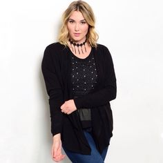 COMING SOON Black Cardigan Set - Plus Size Black cardigan set features long sleeves and an bedazzled inner shell top. 100% polyester. Sizes available: 1XL, 2XL, & 3XL. Will list at $38. Not interested in trades. Toffs + Tufts Sweaters Cardigans