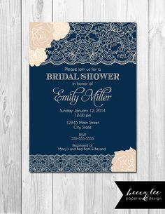 Navy bridal shower invitations wedding gown printed navy blue bridal floral lace bridal shower invitation navy blue by beccaleepaperie 1300 filmwisefo