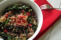 Red Quinoa, Kale, Blood Orange and Pom Salad With Meyer Lemon Vinaigrette | Category: Soups & Salads