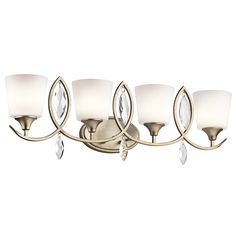 Buy the Kichler Sterling Gold Direct. Shop for the Kichler Sterling Gold Casilda 4 Light Bathroom Vanity Light and save. Bathroom Vanity Lighting, Light Bathroom, Bathroom Ideas, Bathroom Fixtures, Bathroom Designs, Residential Lighting, Bath Light, Lighting Store, Bath Vanities