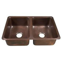 ECOSINKS Undermount Hammered Antique Copper 31x20x9 2-Hole Double Bowl Kitchen Sink-K2D-3120HA at The Home Depot