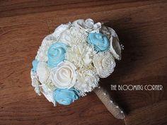 Wedding Aqua Bouquet, Sola Bouquet, Alternative Bouquet, Burlap Bouquet, Handmade Bouquet, by TheBloomingCorner on Etsy https://www.etsy.com/listing/184442555/wedding-aqua-bouquet-sola-bouquet