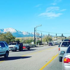 #lifeinColoradosprings November: Living in #coloradosprings means being stuck in traffic looking at this.#okwithit #pikespeak