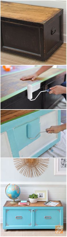 old furniture In this simple furniture makeover, we show you how easy it is to renew an old wooden chest with paint and new cabinet hardware. Refurbished Furniture, Paint Furniture, Repurposed Furniture, Furniture Projects, Furniture Making, Furniture Makeover, Home Projects, Simple Furniture, Furniture Repair