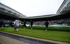 Off the court due to rain Federer 2nd round, Wimbledon 2014