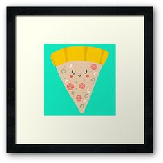 'Cute funny smiling PIZZA slice' Framed Print by Adrian Serghie