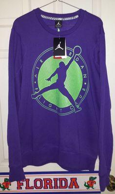 4ea4cb9b5ce NEW Nike AIR JORDAN Flight Club Crewneck Sweatshirt Mens XL Purple Green  JUMPMAN  Nike