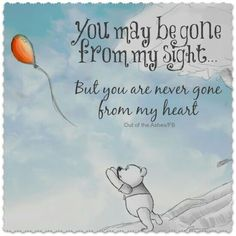 You may be gone from my sight, but you are never gone from my heart.